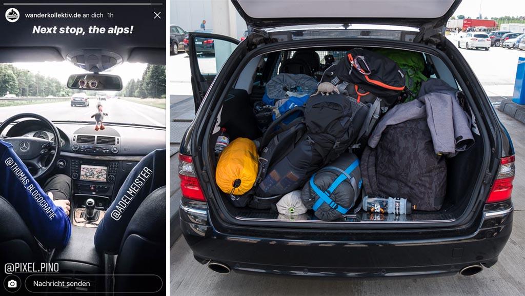 Voller Kofferraum mit den Rucksäcken der Fotografen