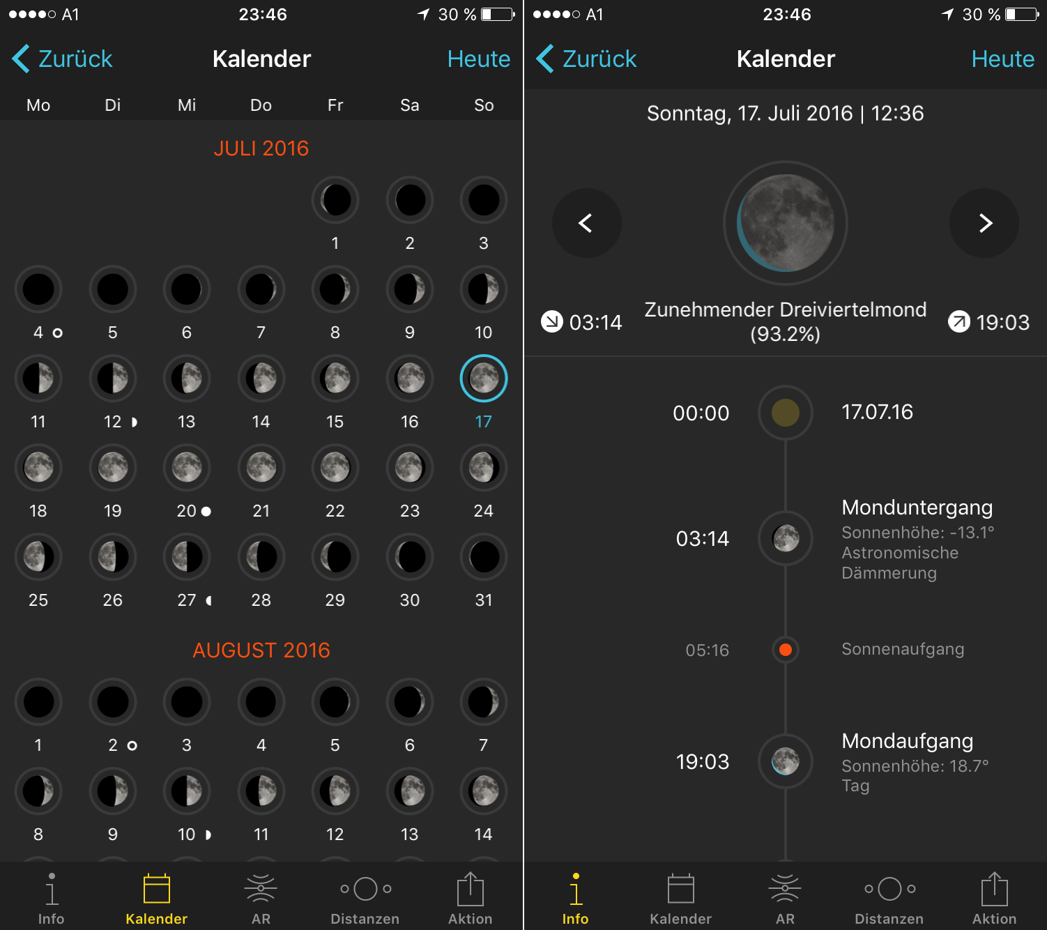 Mondkalender PhotoPills App