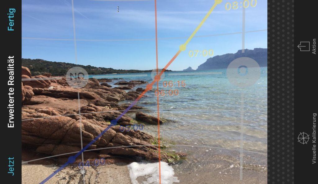 Planung mit PhotoPills AR-Ansicht