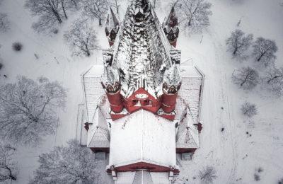 Pauluskirche Halle (Saale) - Luftbild im Schnee