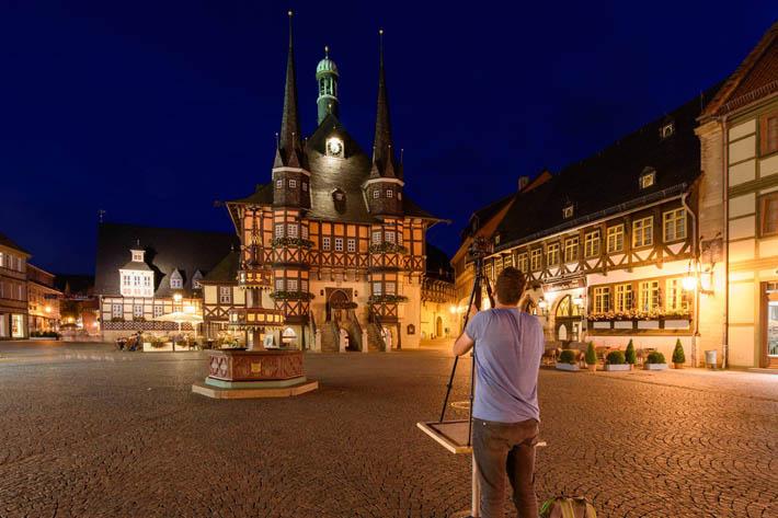 Rathaus Wernigerode bei Nacht