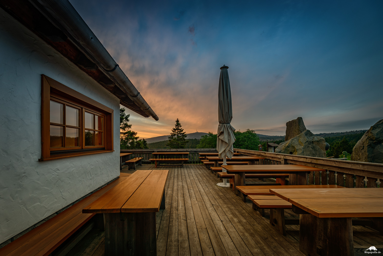 Sonnenaufgang fotografieren - Torfhaus mit Blick zum Brocken