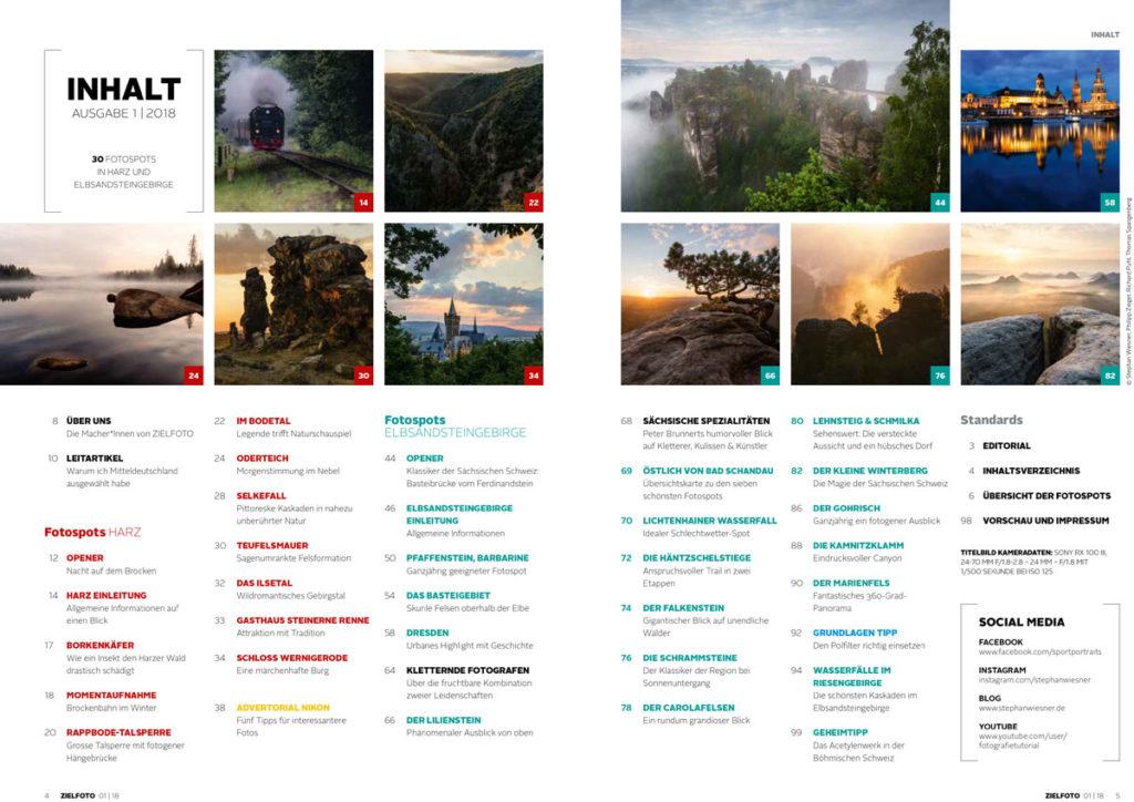 Zielfoto-Magazin - 01|2018 - 30 Fotospots im Harz und Elbsandsteingebirge - Inhaltsverzeichnis