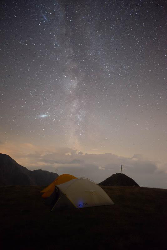 Milchstraße über den Zelt, unbearbeitet