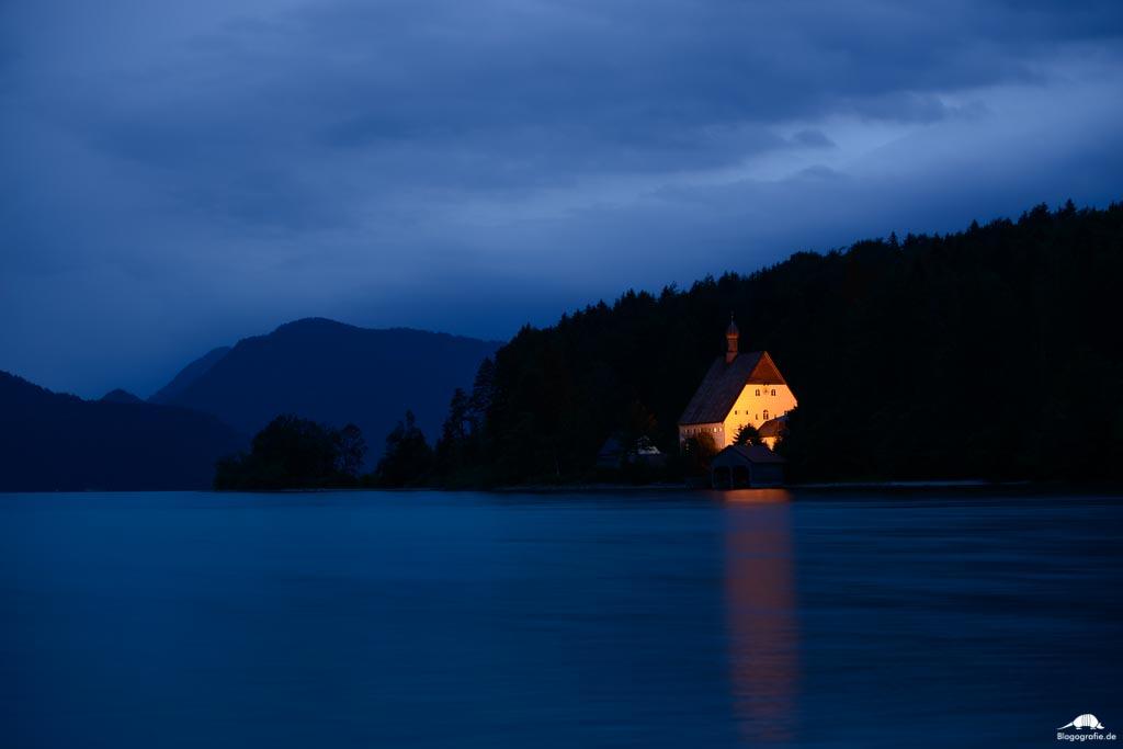 Klösterl Walchensee bei Nacht
