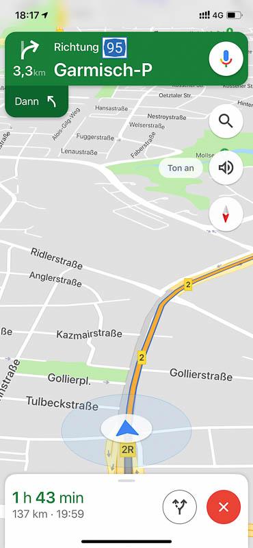 Screenshot von Google Maps, mit Navigation zum Ziel