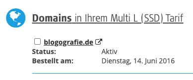 Domainregistrierung von blogografie.de am 14.06.2016