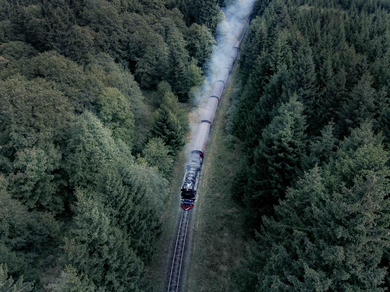 Brockenbahn aus der Luft mit der Drohne