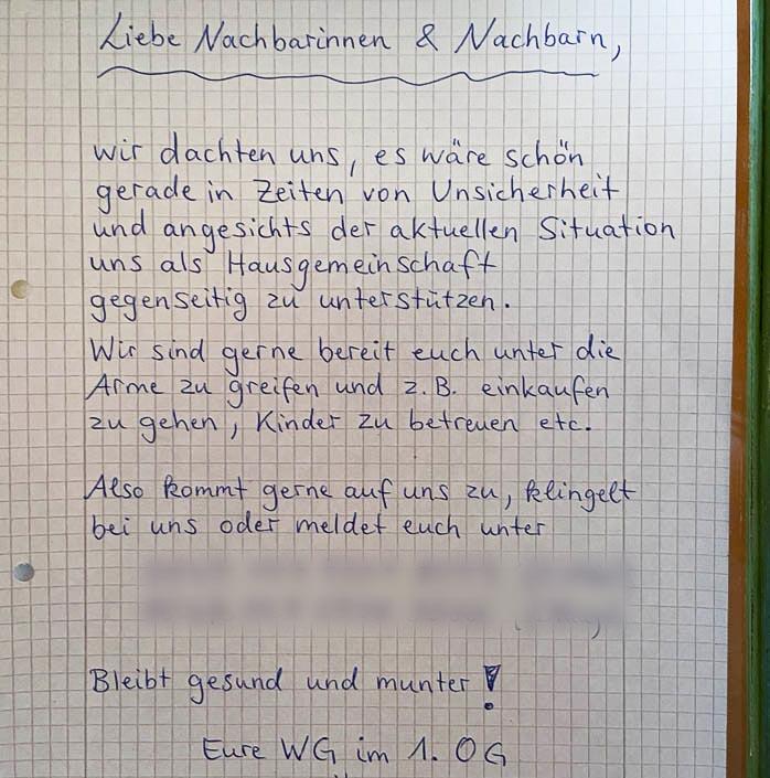 Brief der Hausgemeinschaft zur Coronahilfe