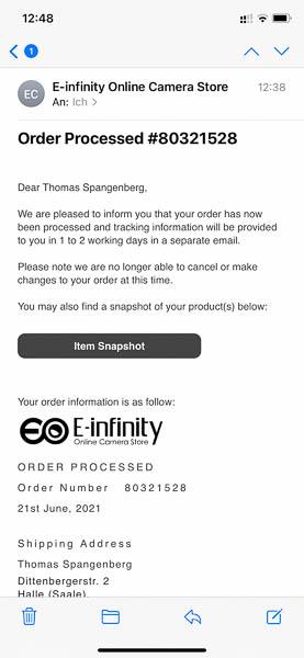 Versandbestätigung von E-Infinity