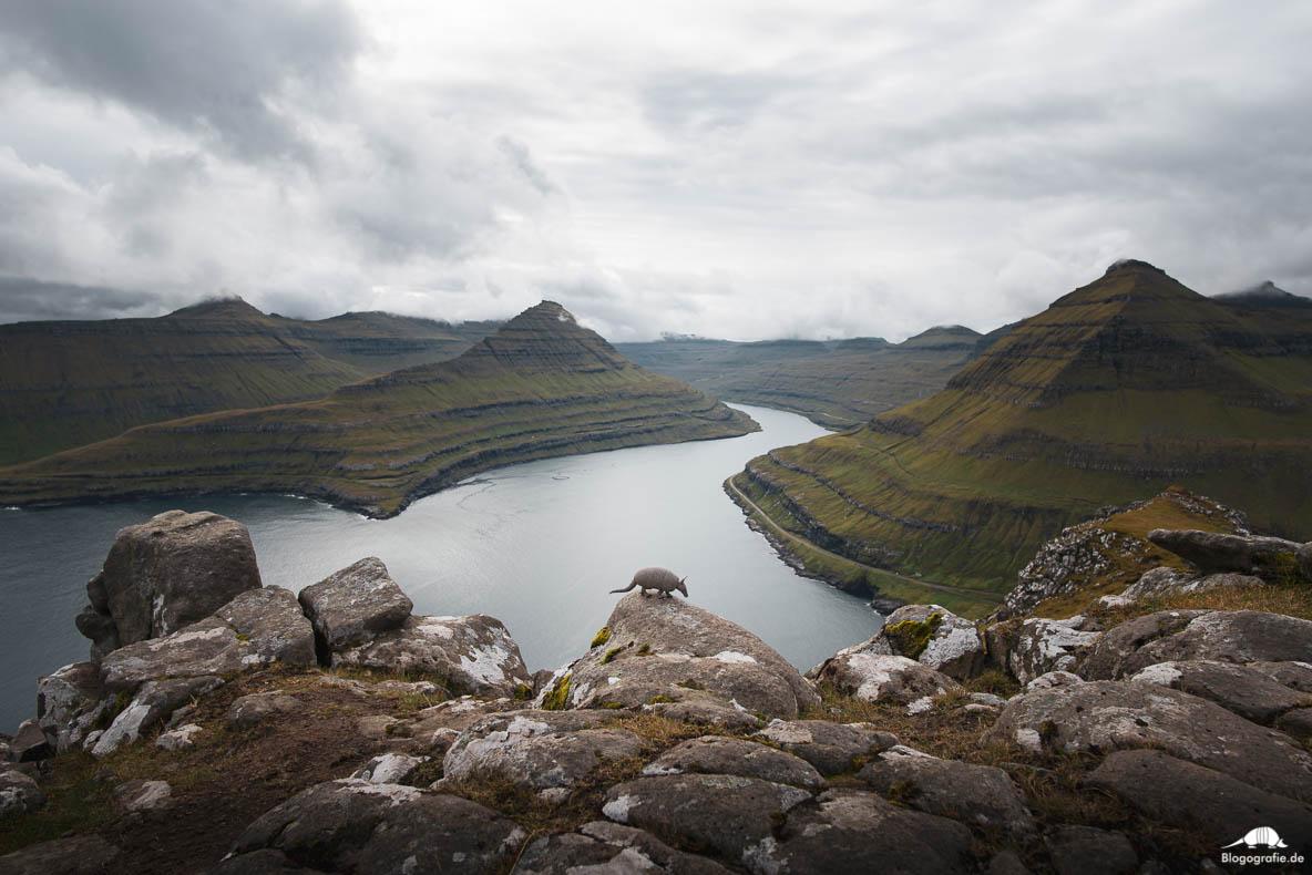 Ausblick vom Hvithamar mit Gürteltier auf den Färöer-Inseln
