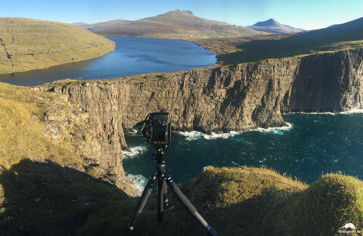 Making-of-Foto am traelanipan auf den Färöer-Inseln