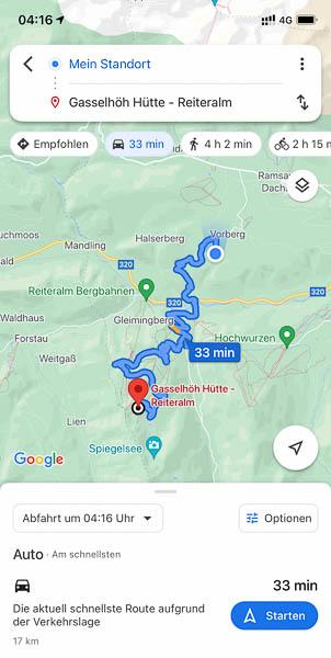 Anfahrt per Google Maps vom Astlhof zur Reiteralm