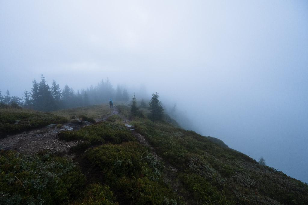 Wanderer im Nebel auf dem Weg zur Gasselhöhe