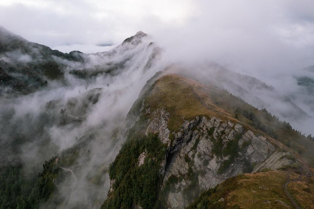 Drohnenfoto entlang des Grats von der Gasselhöhe