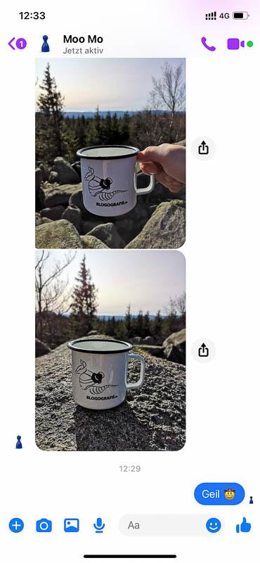 Emaille-Tasse mit Blogografie-Logo