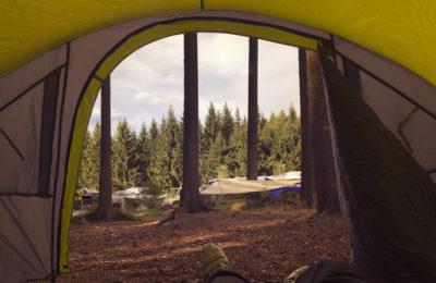 Blick aus dem Zelt auf dem Campingplatz am Schierker Stern im Harz