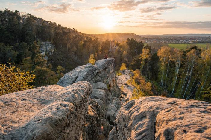 Die Klusberge im Harz zum Sonnenuntergang