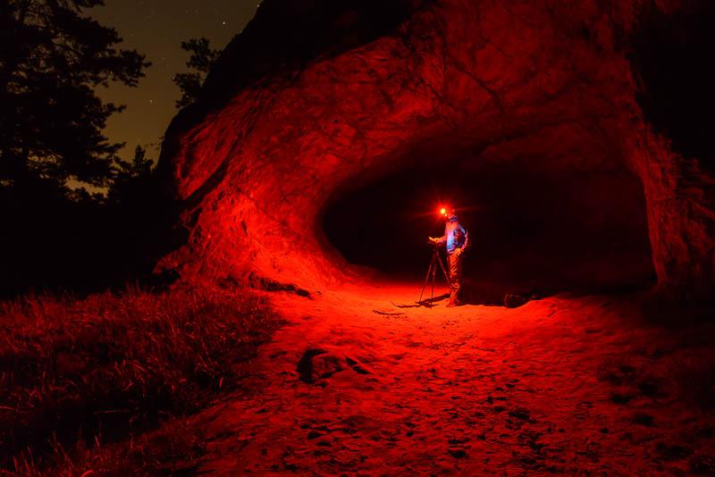 Teufelsloch mit Stephan Wiesner bei Nacht
