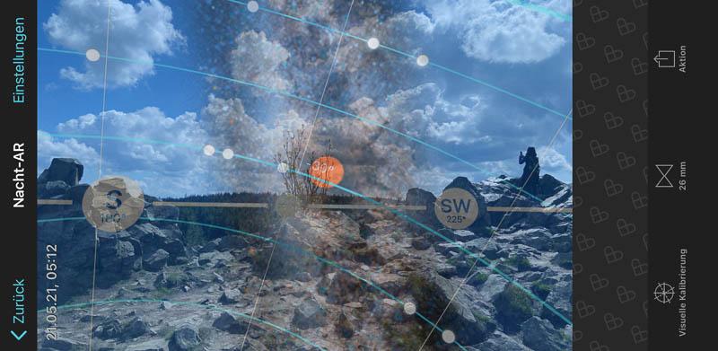 Stand der Milchstraße an der Wolfswarte in der PhotoPills-App