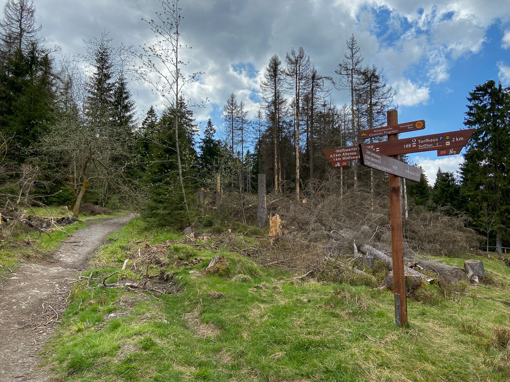 Der ausgeschilderte Wanderweg zur Wolfswarte