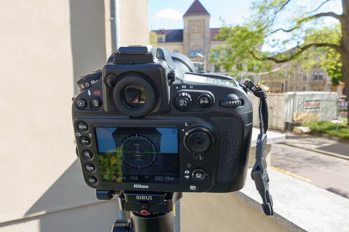 Fotoauftrag Hauptpostuhr - Ausrichten der Kamera