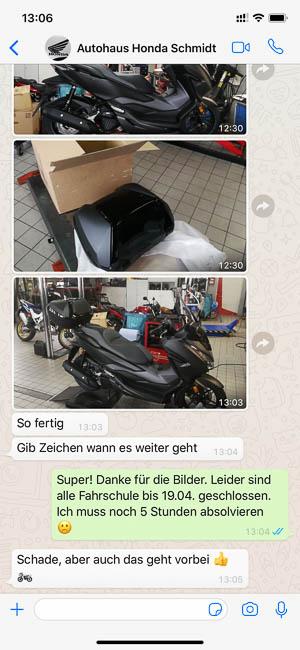 Whatsapp-Nachricht vom Honda-Autohaus für meinen neuen Honda Forza 125