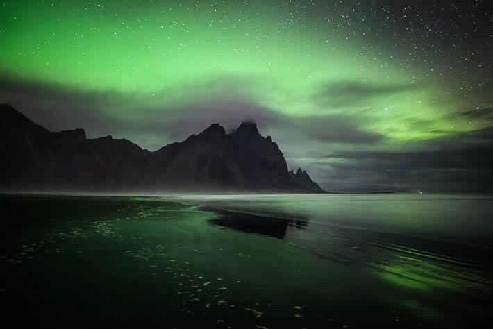 island - stokksnes - polarlichter