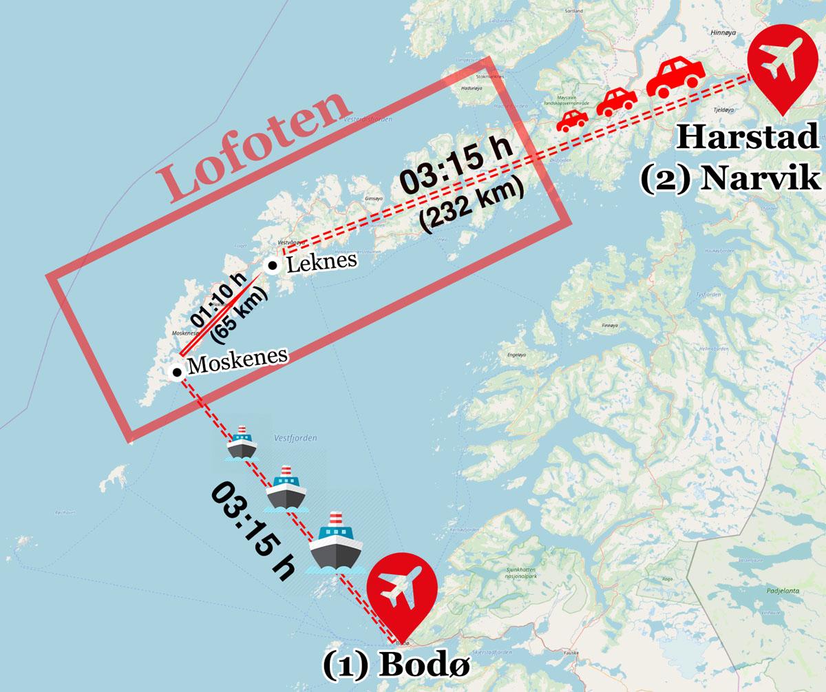 Karte zur Anreise auf die Lofoten