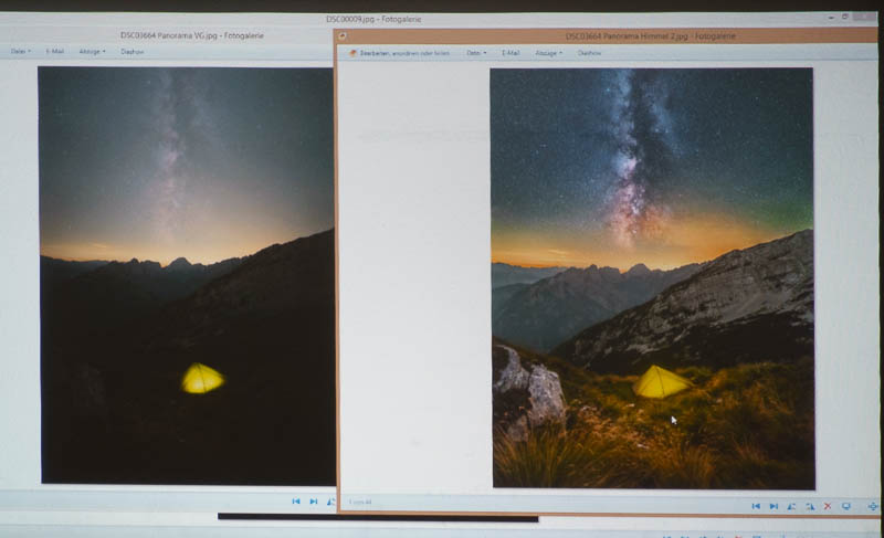 Milchstraße: Vorher-Nachher beim Seminar zur Bildbearbeitung von Astrolandschaften mit Matt Aust
