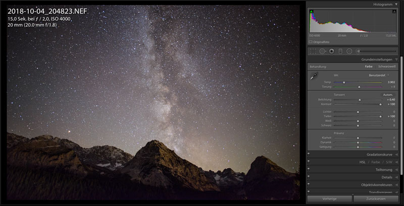 Bearbeiten der Milchstraße in Lightroom