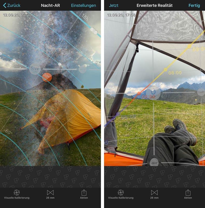 Planung der Milchstraße und des Sonnenaufgangs mit der App PhotoPills