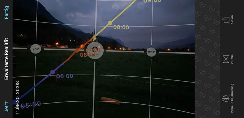Planung zum Stand der Sonne am Morgen mit der App PhotoPills auf dem Campingplatz Tiefental