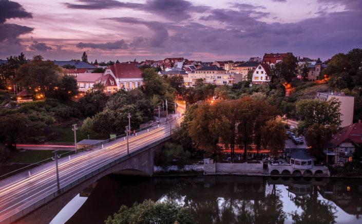 Blick von der Burg Giebichenstein auf den Stadtteil Kröllwitz in Halle