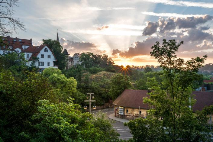 Sonnenaufgang an der Bergschenke in Halle Kröllwitz