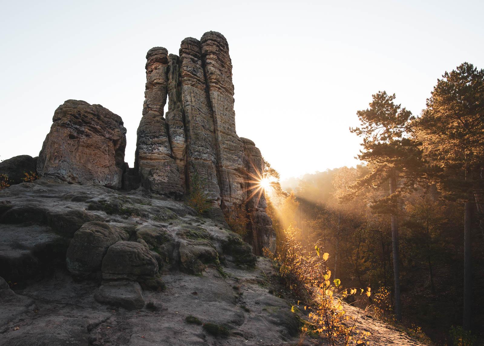Die Fünffingerfelsen in den Klusbergen bei Halberstadt