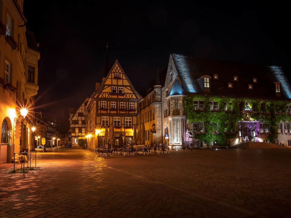Marktplatz in Quedlinburg bei Nacht