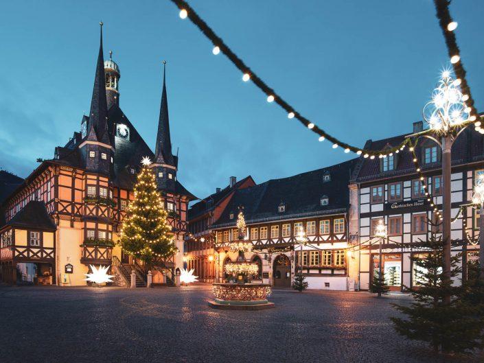 Rathaus Wernigerode an Weihnachten