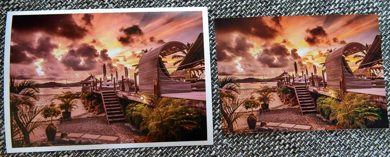 Vergleich zwischen einem Foto in 15x21 cm mit weißem Rahmen und einem Foto ohne Rahmen in 13x18 cm