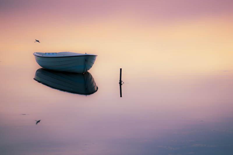 Ruderboot zum Sonnenuntergang in Rerik am Salzhaff