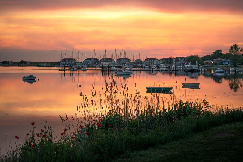 Sonnenuntergang in Rerik im Hafen am Salzhaff