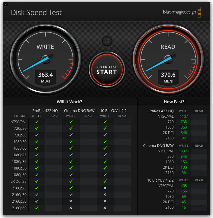 Samsung T7 Portable SSD Speedtest mit BackMagic mit USB 3.0