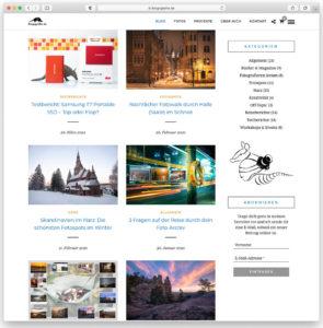 Die Blog-Seite von Blogografie.de im neuen WordPress-Theme