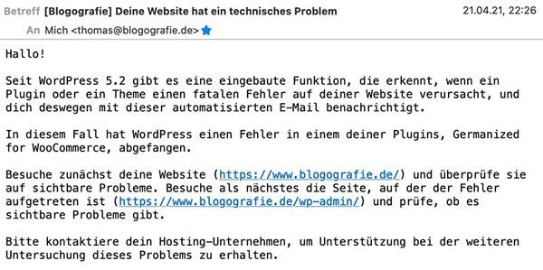 Technische Störung bei einem WordPress-Plugin