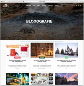 Die Startseite von Blogografie.de im alten WordPress-Theme
