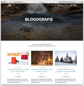 Die Startseite von Blogografie.de im neuen WordPress-Theme