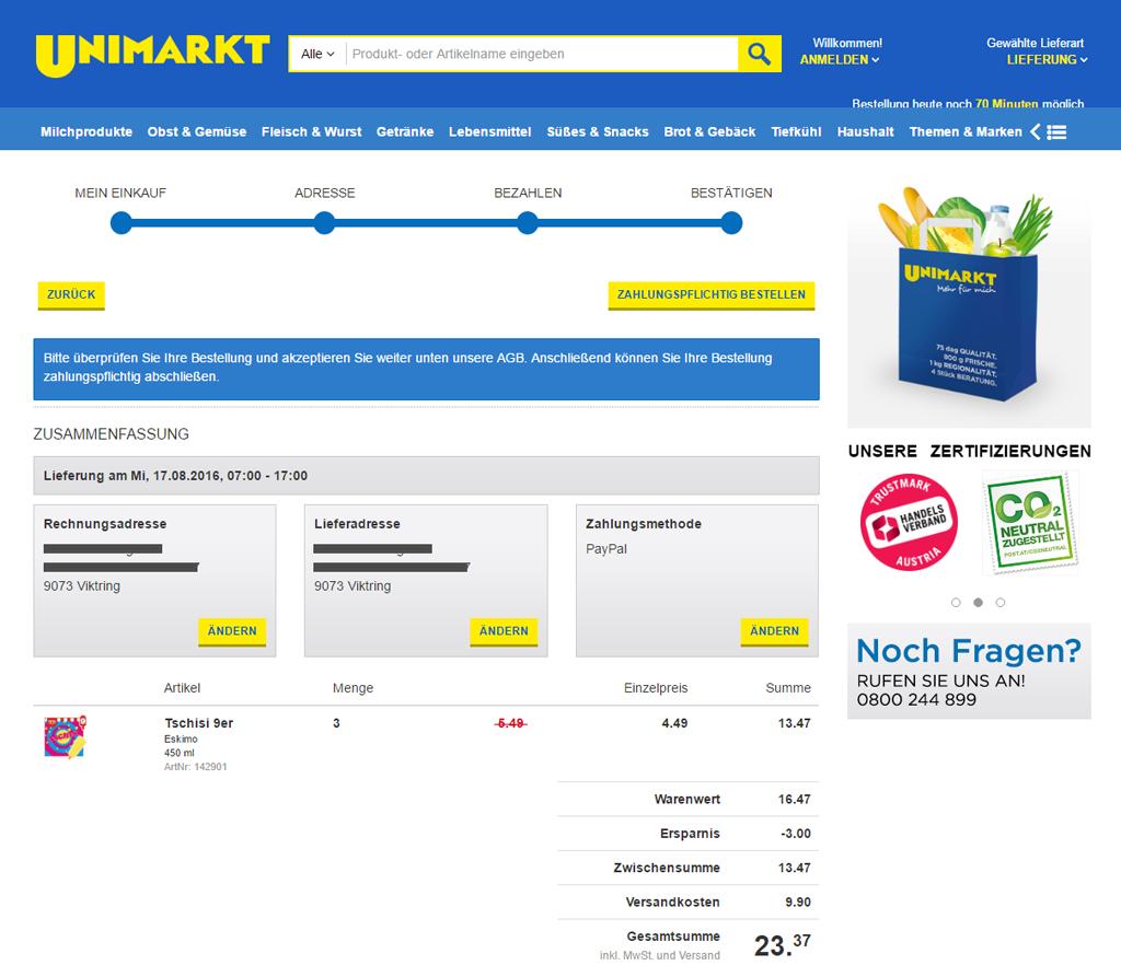 Tschisi Eis Bestellung bei Unimarkt.at