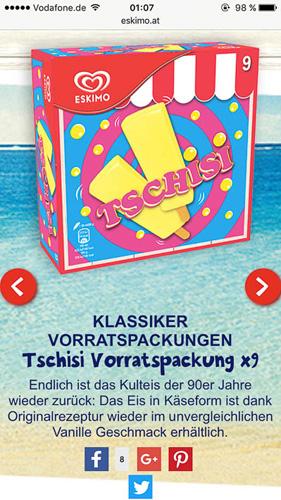 Tschisi Eis auf der Eskimo Webseite