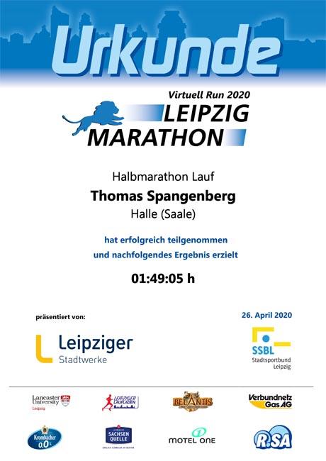 Urkunde vom Virtual Run Halbmarathon Leipzig 2020