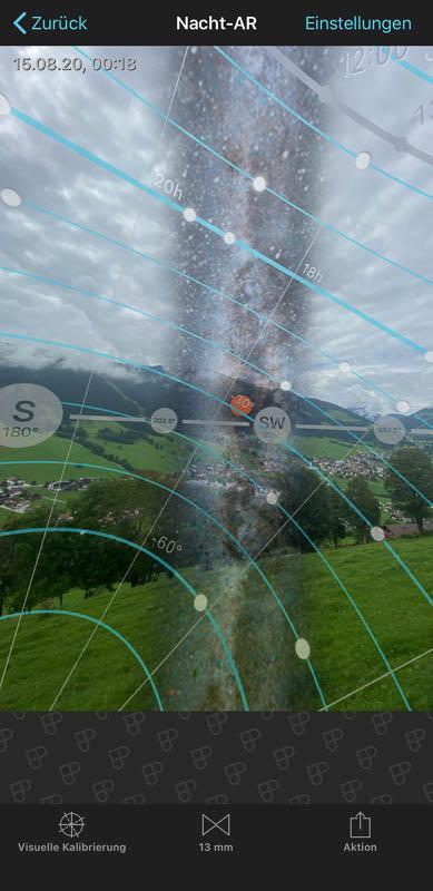 Planung der Milchstraßen-Fotografie über dem Markbachjoch in Niederau in der Wildschönau